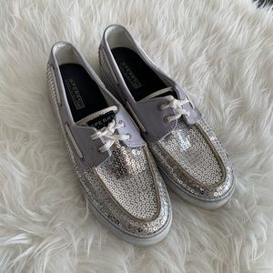 Women's sperry top sider silver sequin shoes